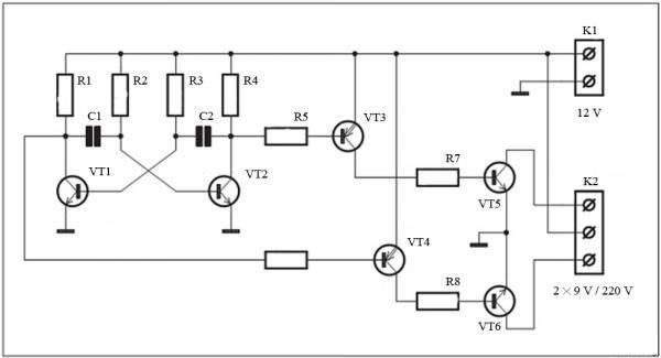 Модуль преобразователя напряжения 12B-220В_схема.